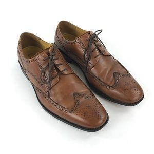 Cole Haan Brown Leather Giraldo Wingtip Shoes